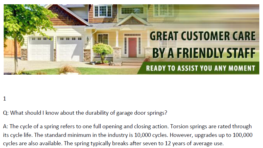 FAQs on Garage Door Springs - Garage Door Repair Medford